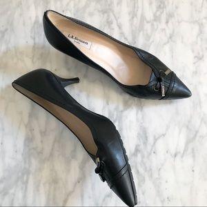 L. K. Bennett Black Leather Bow Kitten Heels